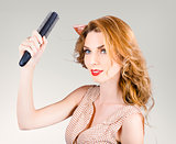 Beautiful woman with red hair. Beauty salon model