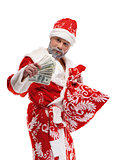 Santa Claus with dollars on a white background