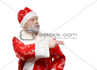 Santa Claus shows his hand to the right, a white background