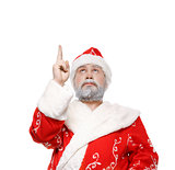 Santa Claus shows his hand up, white background