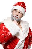 Santa Claus is thinking, white background
