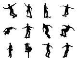 Skateboarder silhouettes