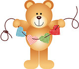 Teddy Bear Holding String Hearts