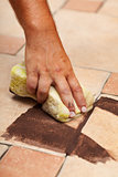 Testing the color of joint on ceramic floor tiling