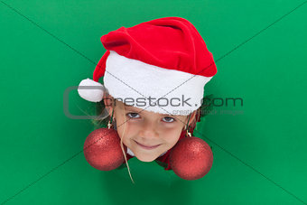 Funny christmas girl with bauble earrings