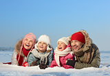 Family on snow