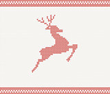 Christmas and Winter knitted pattern with deer