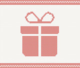 Knitted gift box. vector illustration