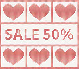 Christmas Sale.Knitted pattern with hearts