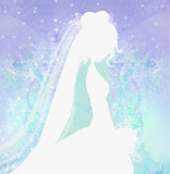 Elegant bride in big white dress - silhouettes illustration