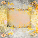 Wooden frame on autumn background