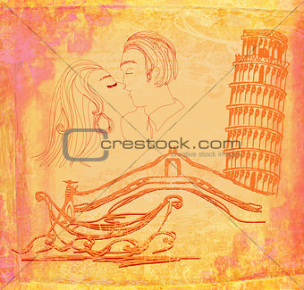 kissing couple in italy - vintage illustration