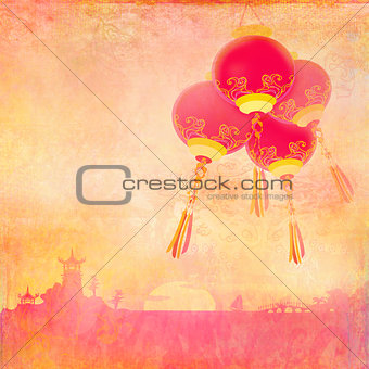 Asian Landscape and Chinese Lanterns