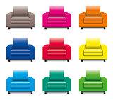 vector colorful armchair set