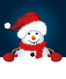 vector christmas snowman with santa hat and gloves