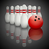 Background of paper bowling pins and ball. Illustration of sports competitions.