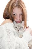 Beautiful girl with a cat.