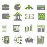 Finance, Business Green Icons