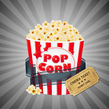 Grey Grungy Background With Popcorn And Tickets