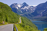 Scenic road by fjord