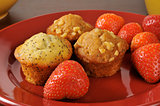 Muffins and strawberries