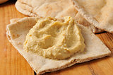 Garlic hummus on pita