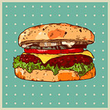 colored background with a hamburger