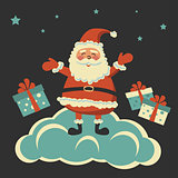 colored background with Santa Claus