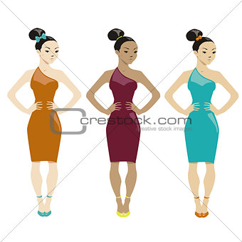 three women in dresses on white background