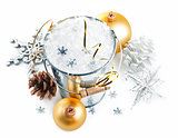 christmas decoration with snow and snowflake