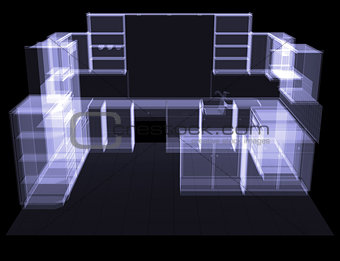 Kitchen. X-ray rendering
