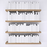 Wooden shelfs with books on white wall background