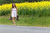 Model Walking Down Road
