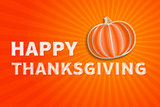 happy thanksgiving day - autumn illustration with striped pumpki