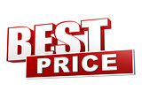 best price in red white banner - letters and block
