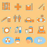 Hospital and medical color icons on orange background