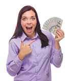 Mixed Race Woman Holding the New One Hundred Dollar Bills