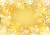 Golden snowflakes background