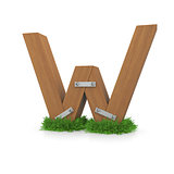 Wooden letter W in the grass