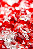 transparent and red glass stones