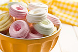 colorful meringues in bowl