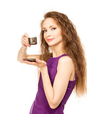 Young happy woman holding a coffee cup isolated