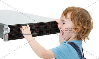 cute child with network server