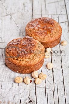 fresh buns with hazelnuts
