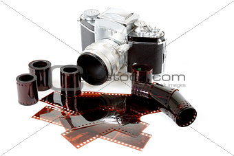 analog vintage SLR camera and color negative films