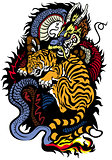 tiger and dragon fighting