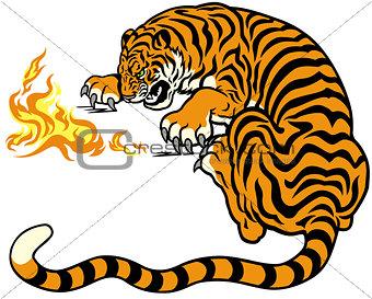 tiger with fire