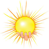 Sun in people hand vector illustration.