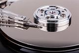 Closeup of opened computer hard drive