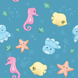 Seamless pattern of underwater creatures